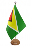 Guyana Desk / Table Flag with wooden stand and base